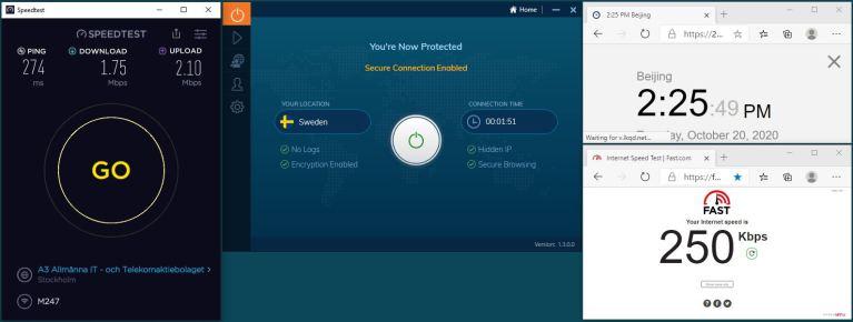 Windows10 IvacyVPN UDP+5555端口 Sweden 服务器 中国VPN 翻墙 科学上网 翻墙速度测试 - 20201020