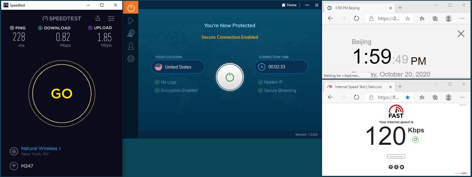 Windows10 IvacyVPN UDP+5555端口 USA 服务器 中国VPN 翻墙 科学上网 翻墙速度测试 - 20201020