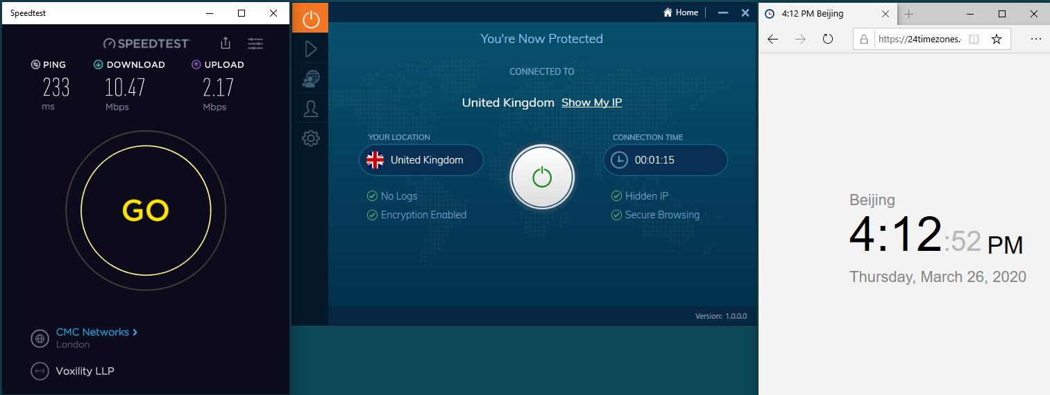 Windows10 IvacyVPN UK 中国VPN翻墙 科学上网 SpeedTest测速-20200326
