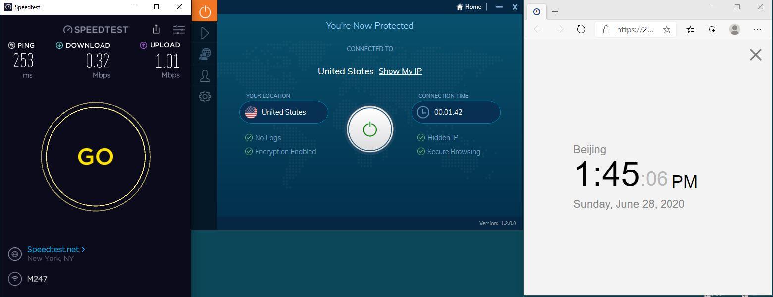 Windows10 IvacyVPN USA 中国VPN 翻墙 科学上网 测速-20200628