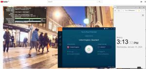 Windows10 IvacyVPN United Kingdom 中国VPN翻墙 科学上网 YouTube连接速度 VPN测速 - 20200115