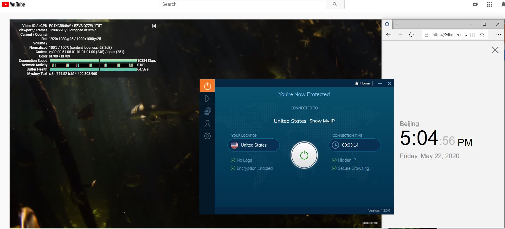 Windows10 IvacyVPN United States 中国VPN 翻墙 科学上网 youtube测速-20200522