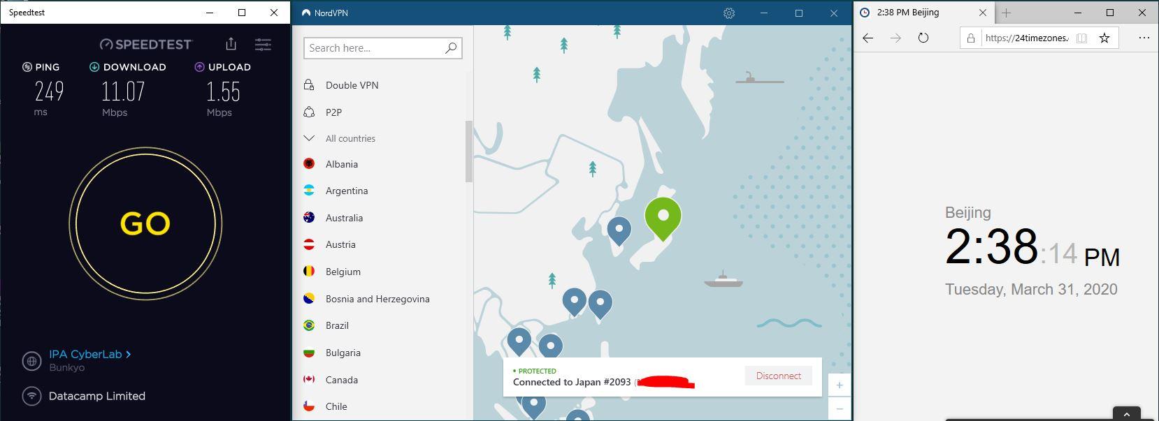 Windows10 NordVPN 混淆关闭 Japan #2093 中国VPN翻墙 科学上网 SpeedTest测速-20200331