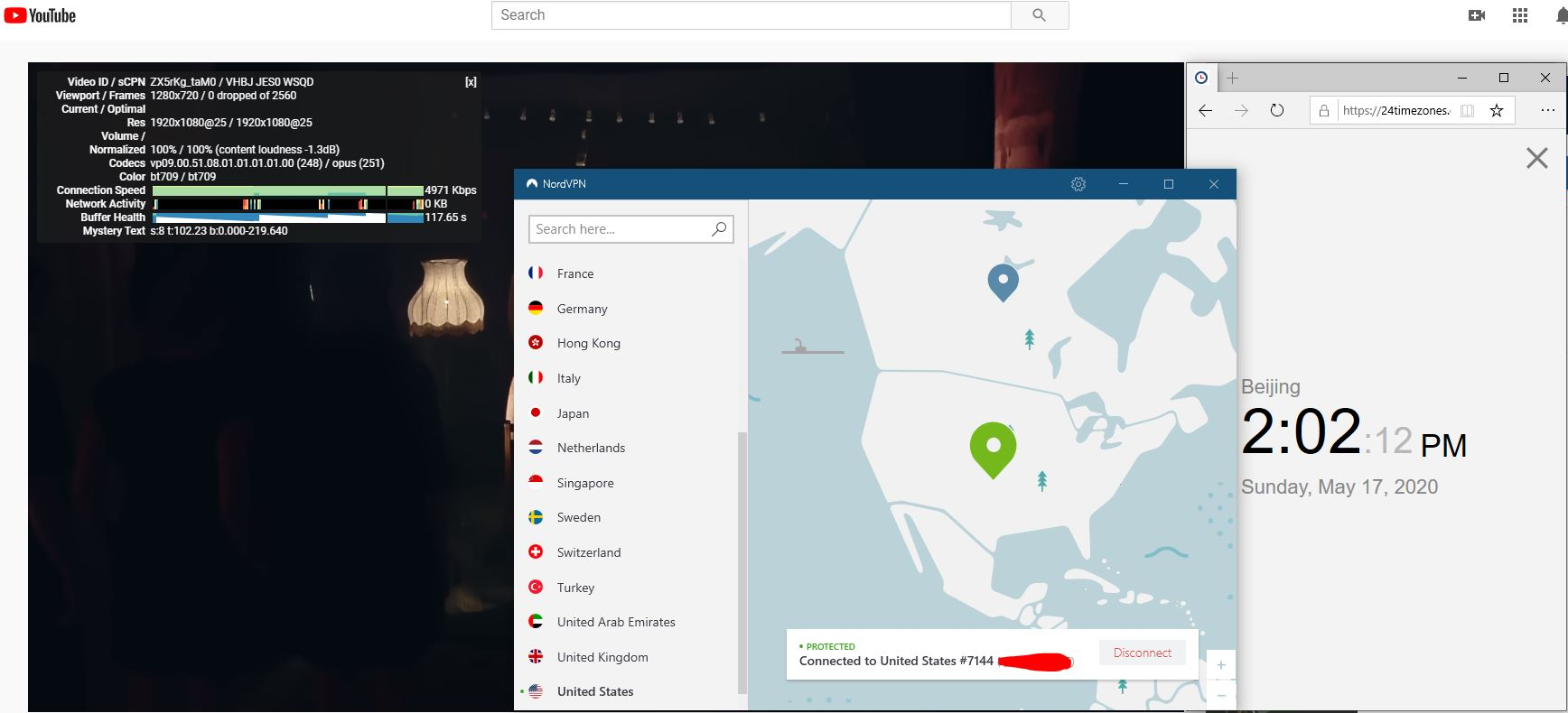 Windows10 NordVPN 混淆开启 USA #7144 中国VPN 翻墙 科学上网 youtube测速-20200517
