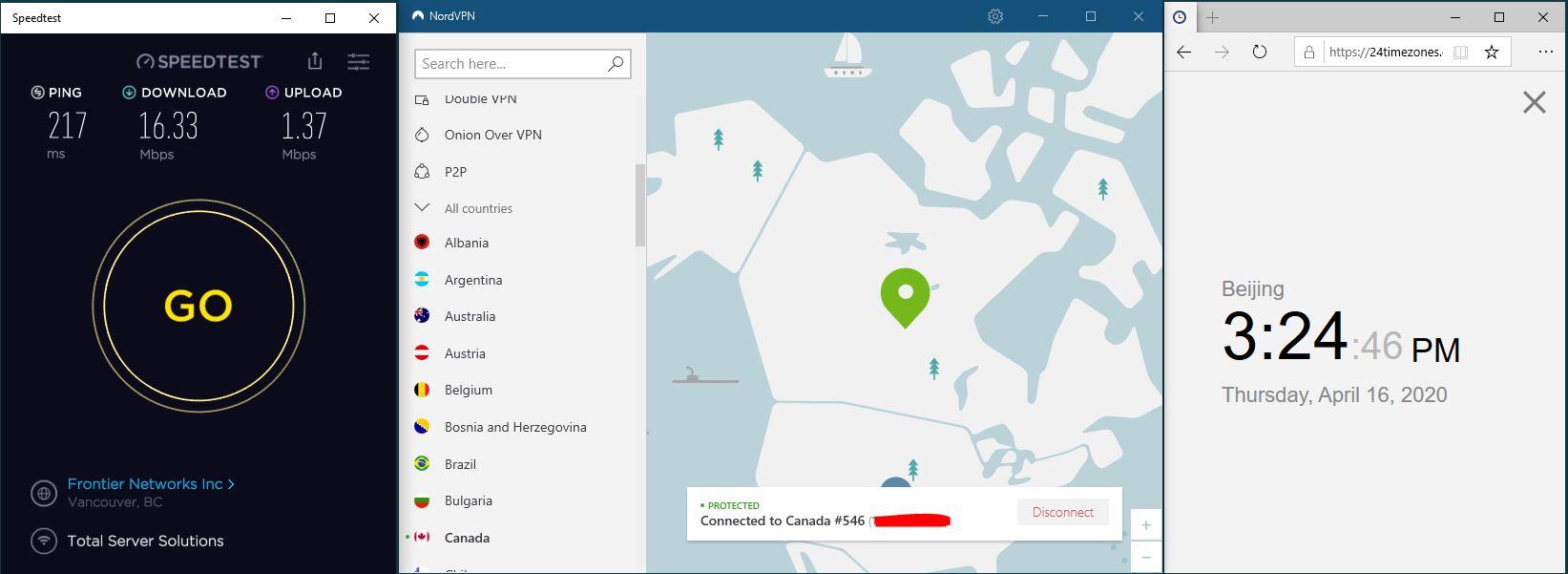 Windows10 NordVPN Canada #546 中国VPN 翻墙 科学上网 SpeedTest测速-20200416