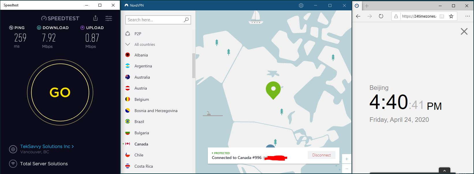 Windows10 NordVPN Canada #996 中国VPN 翻墙 科学上网 SpeedTest测速-20200424