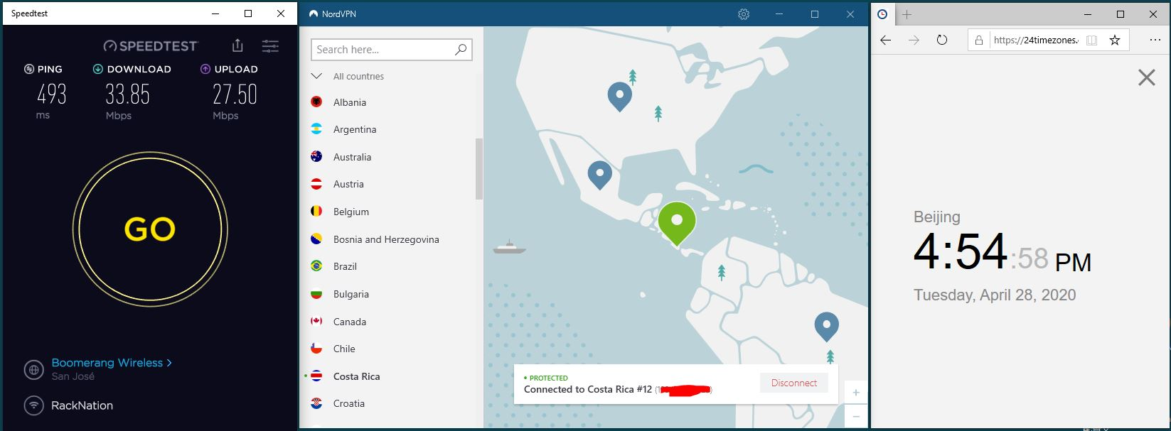 Windows10 NordVPN Costa Rica #12 中国VPN 翻墙 科学上网 SpeedTest测速-20200428