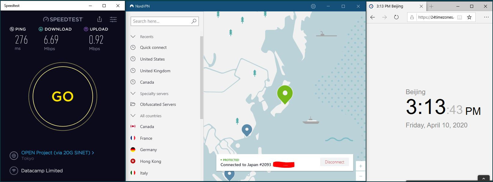 Windows10 NordVPN Japan #2093 中国VPN翻墙 科学上网 SpeedTest测速-20200410