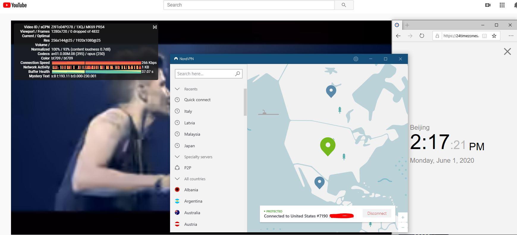 Windows10 NordVPN NordLynx协议 USA #7190 中国VPN 翻墙 科学上网 测速-20200601
