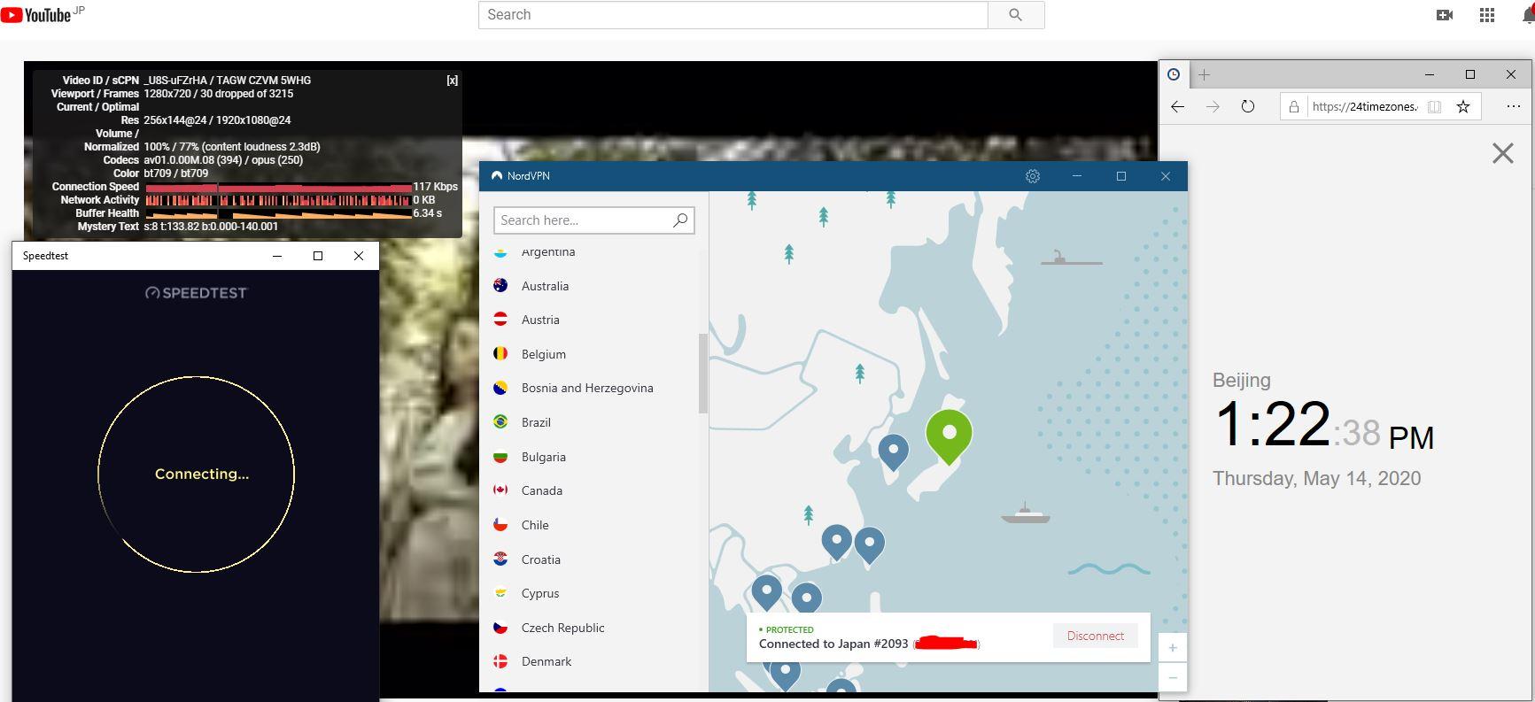Windows10 NordVPN NordLynx-混淆关闭 Japan #2093 中国VPN 翻墙 科学上网 Speedtest+youtube测速-20200514