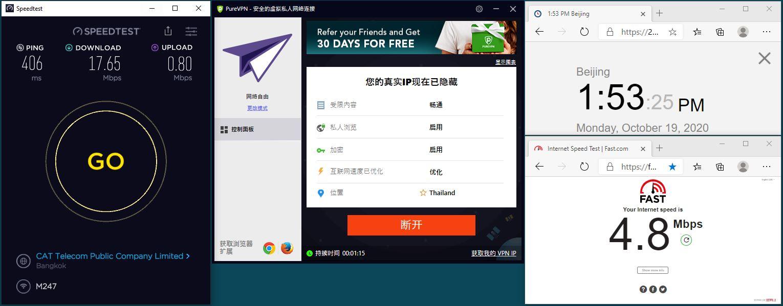 Windows10 PureVPN Automatic Thailand 服务器 中国VPN 翻墙 科学上网 翻墙速度测试 - 20201019