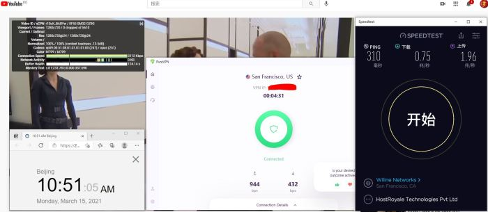 Windows10 PureVPN IKEv2 -USA - San Francisco 服务器 中国VPN 翻墙 科学上网 10BEASTS Barry测试 - 20210315