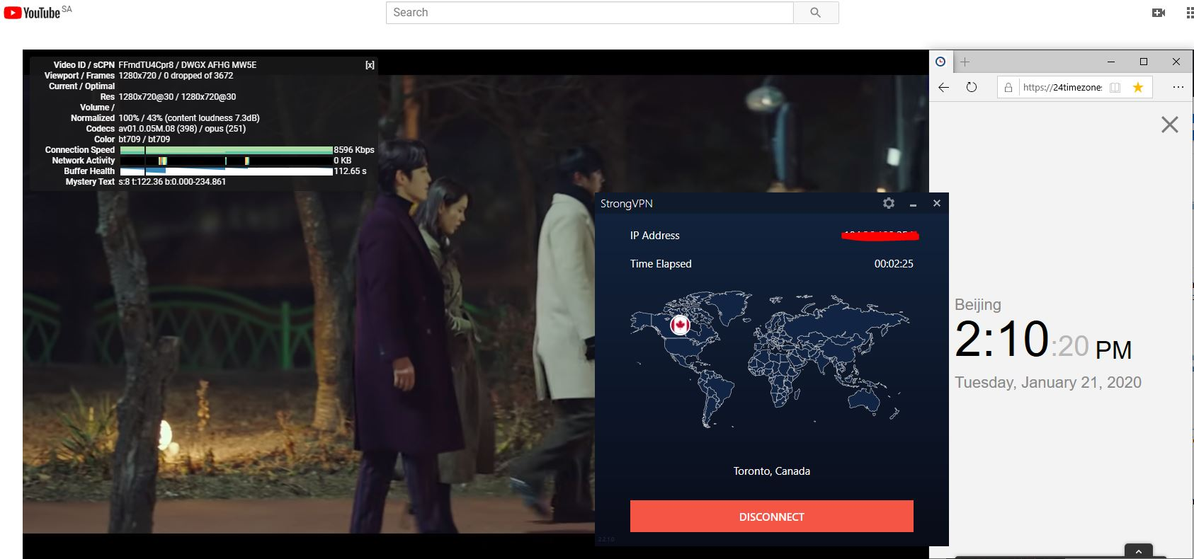 Windows10 StrongVPN Canada - Toronto 中国VPN翻墙 科学上网 Youtube测速-20200121