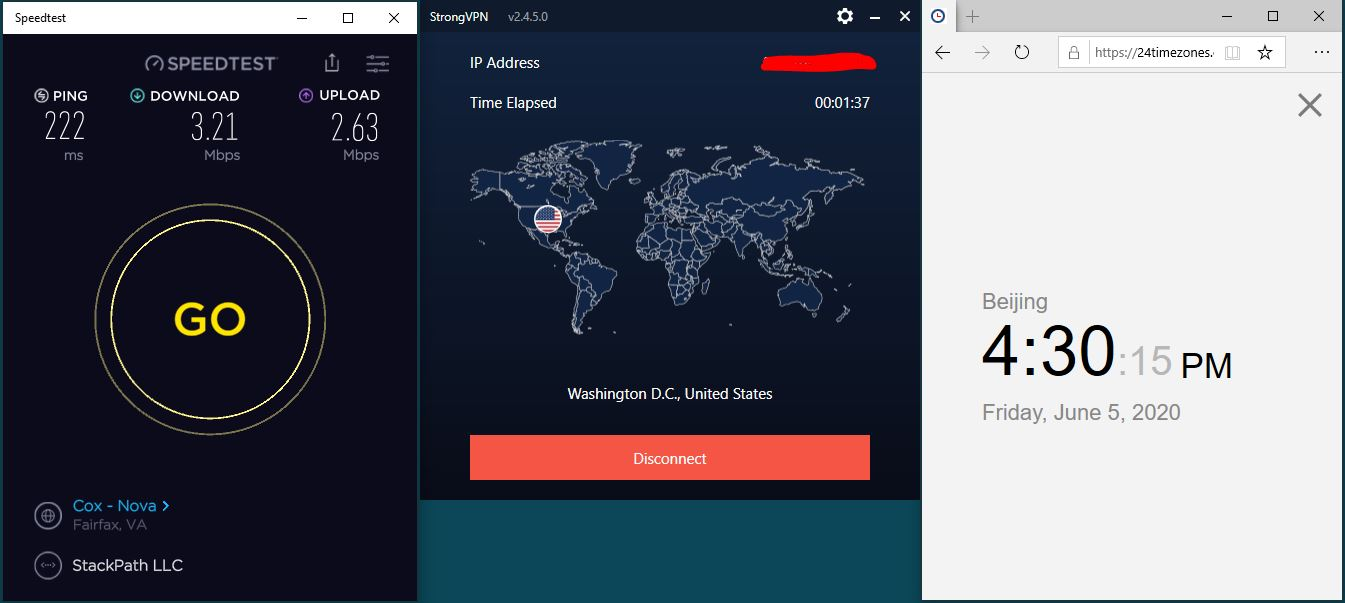 Windows10 StrongVPN IKEv2协议 Washington DC - USA 中国VPN 翻墙 科学上网 测速-20200605