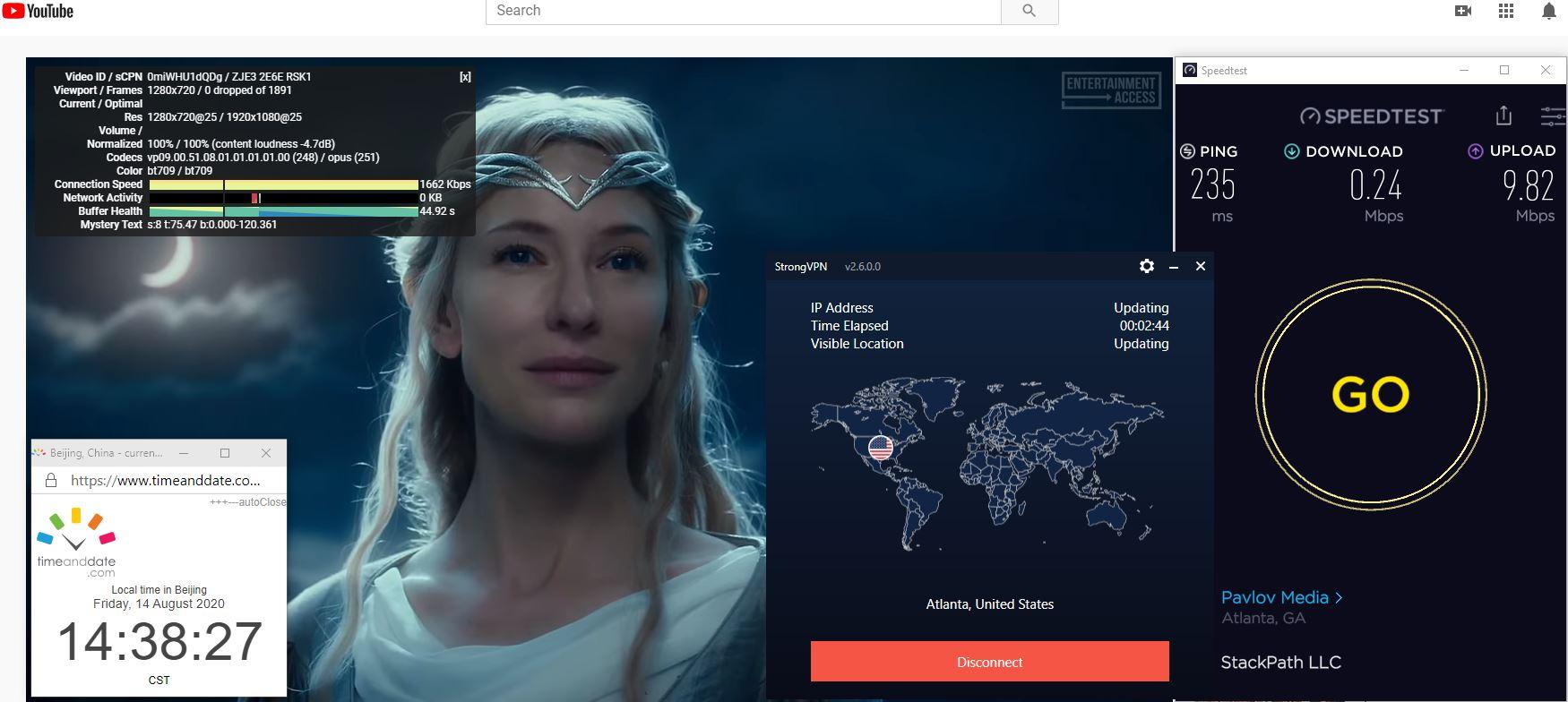 Windows10 StrongVPN IKEv2 USA - Atlanta 中国VPN 翻墙 科学上网 翻墙速度测试 - 20200814