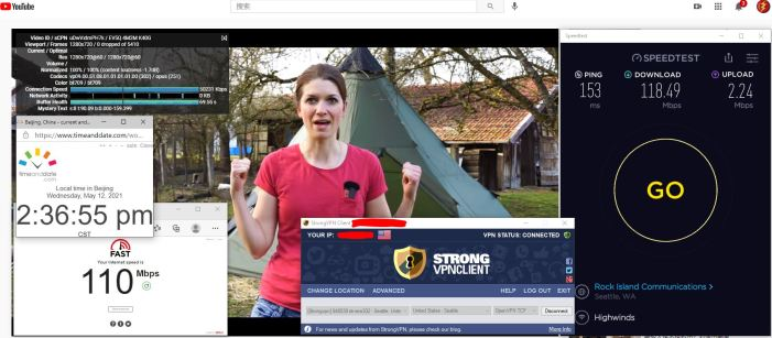 Windows10 StrongVPN OpenVPN-TCP协议 USA - Seattle 302 服务器 中国VPN 翻墙 科学上网 10BEASTS Barry测试 - 20210512