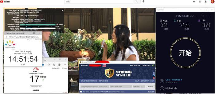 Windows10 StrongVPN TCP协议 USA - Miami 302 服务器 中国VPN 翻墙 科学上网 10BEASTS Barry测试 - 20210419