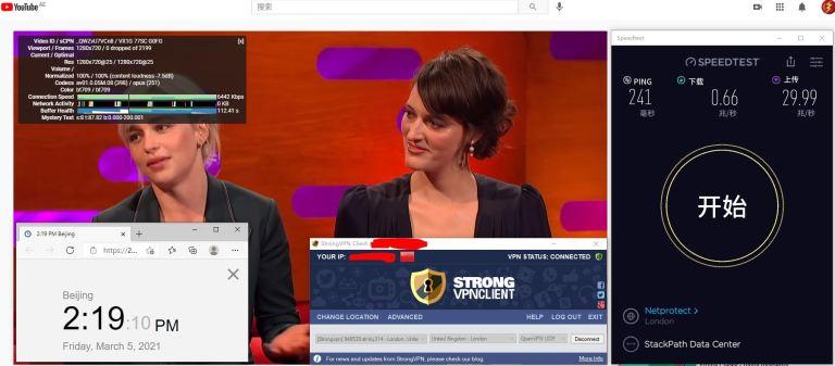 Windows10 StrongVPN UK London #314 服务器 中国VPN 翻墙 科学上网 10BEASTS Barry测试 - 20210305