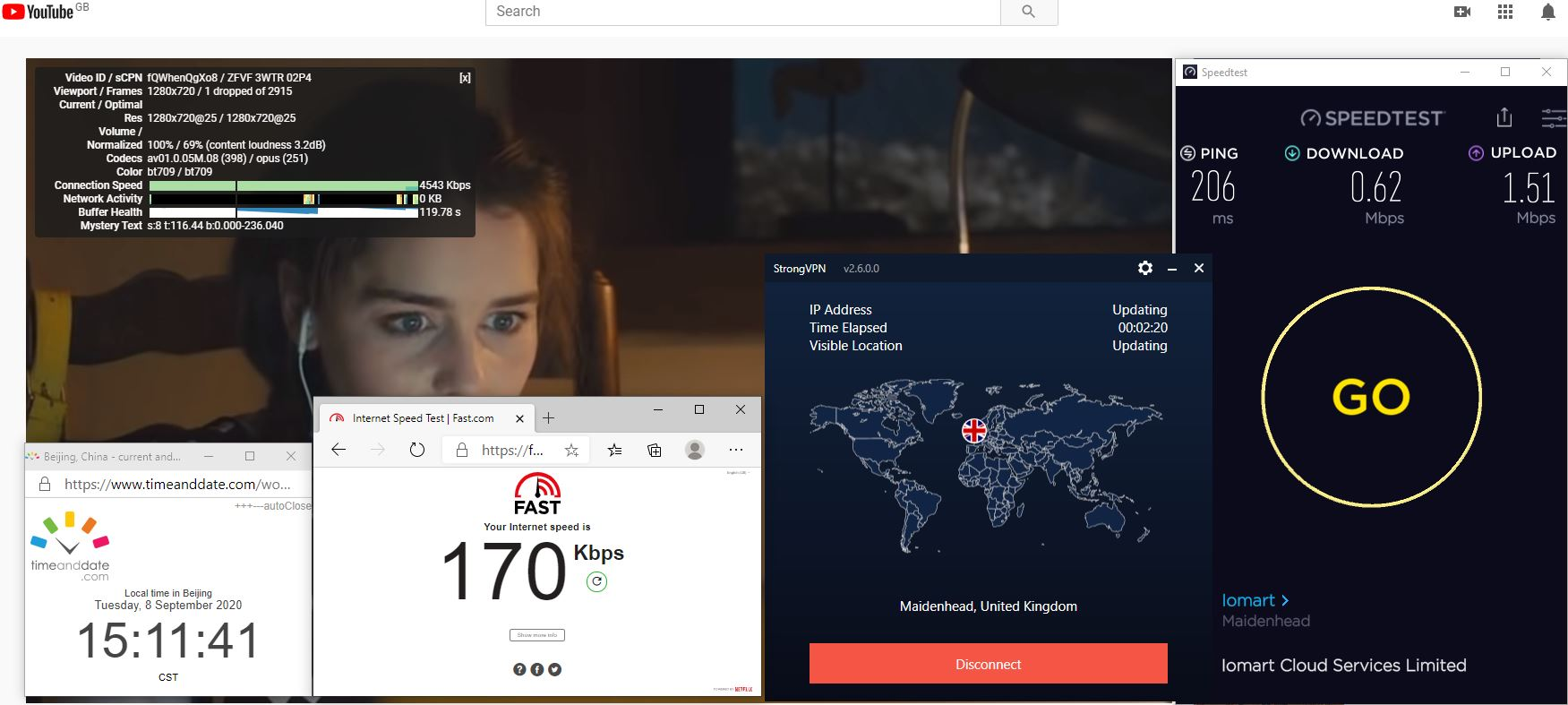 Windows10 StrongVPN UK - Maidenhead 中国VPN 翻墙 科学上网 翻墙速度测试 - 20200908