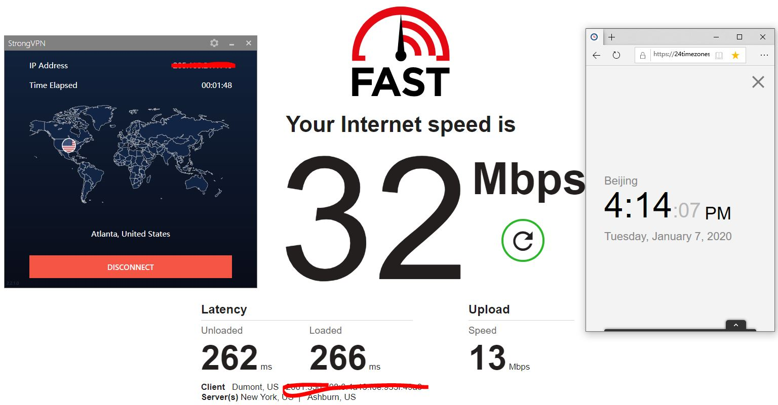 Windows10 StrongVPN USA - Atlanta 中国VPN翻墙 科学上网 SpeedTest测速-20200107