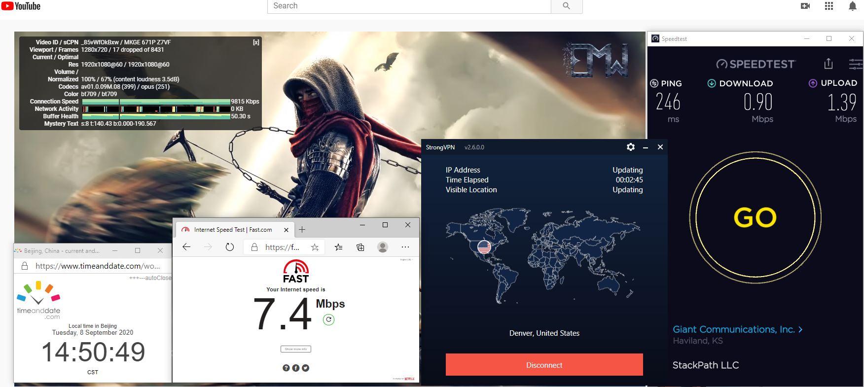 Windows10 StrongVPN USA - Denver 中国VPN 翻墙 科学上网 翻墙速度测试 - 20200908