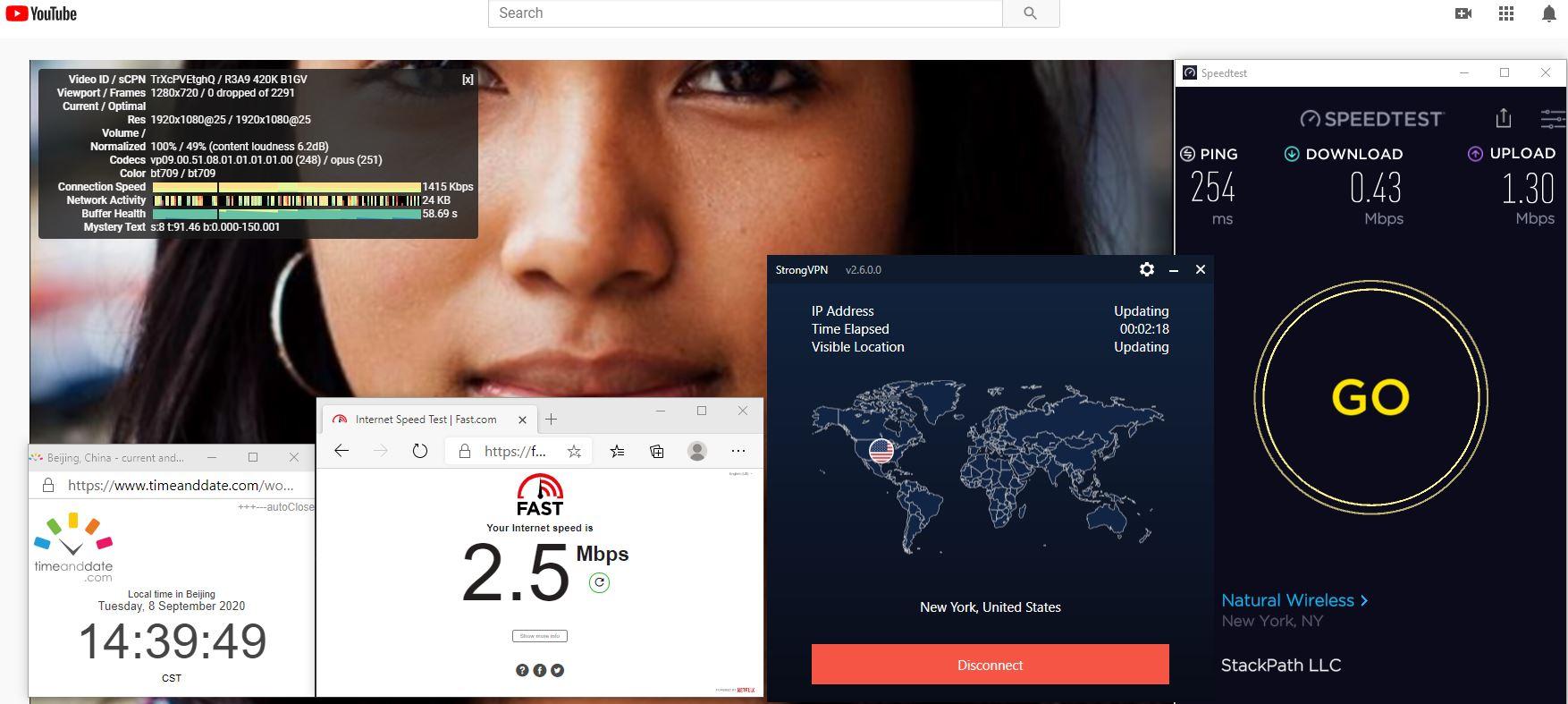 Windows10 StrongVPN USA - New York 中国VPN 翻墙 科学上网 翻墙速度测试 - 20200908