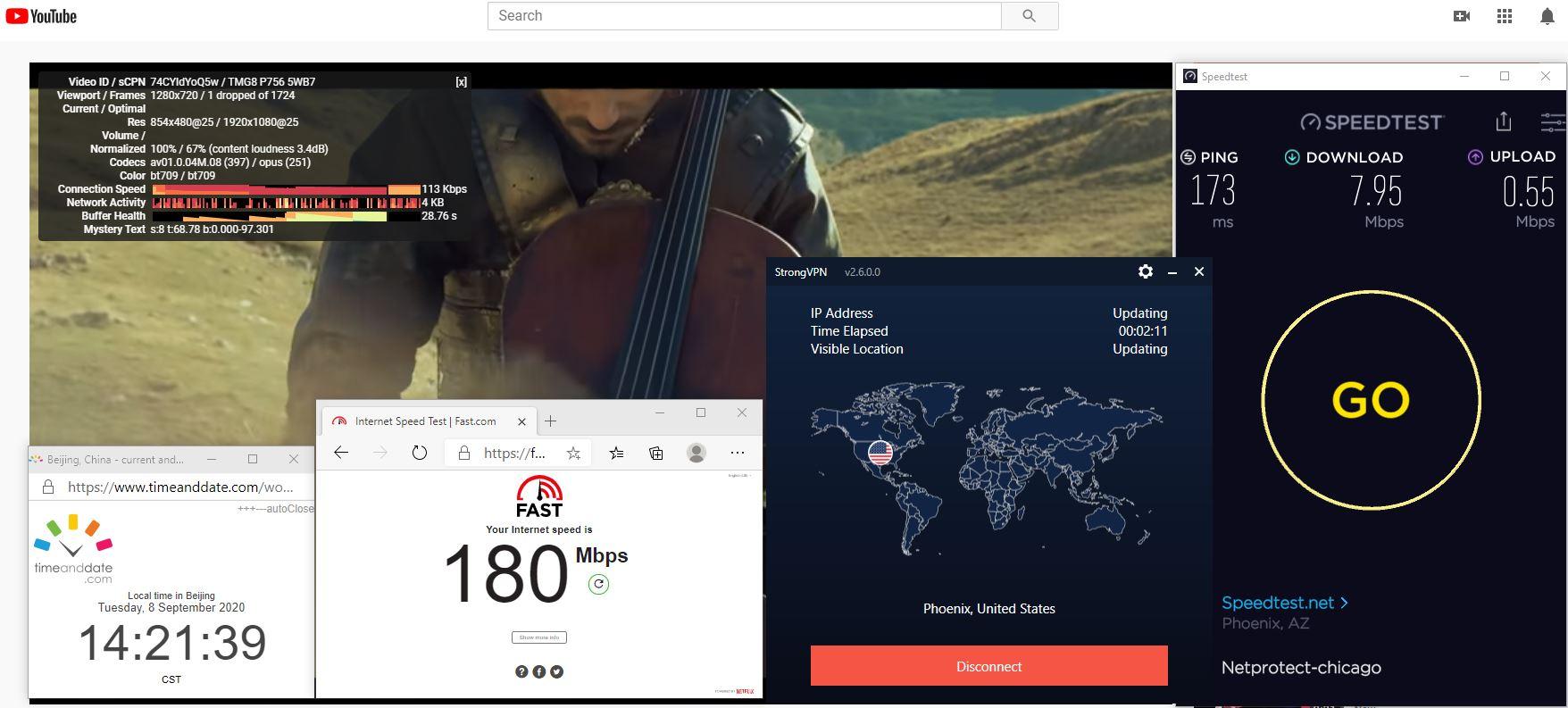 Windows10 StrongVPN USA - Phoenix 中国VPN 翻墙 科学上网 翻墙速度测试 - 20200908