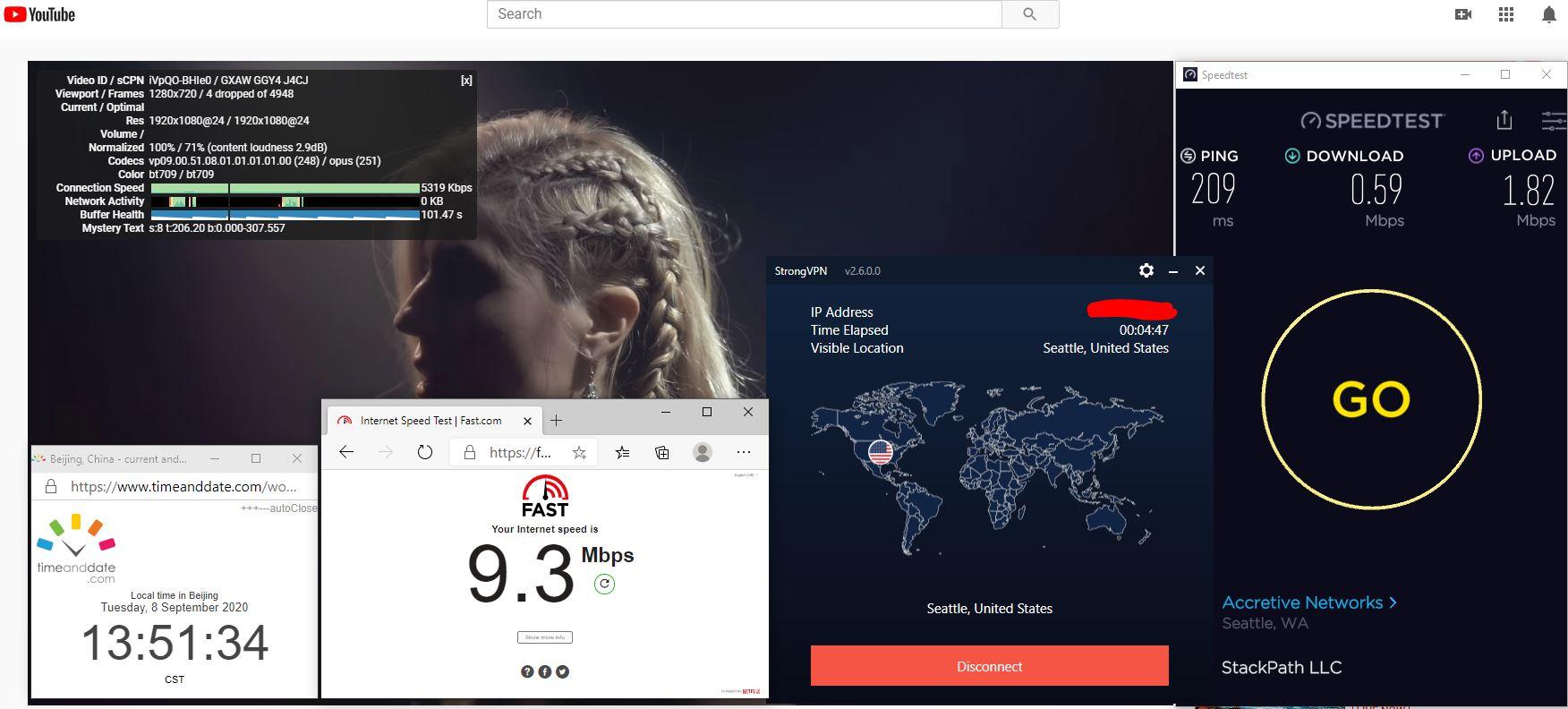 Windows10 StrongVPN USA - Seattle 中国VPN 翻墙 科学上网 翻墙速度测试 - 20200908