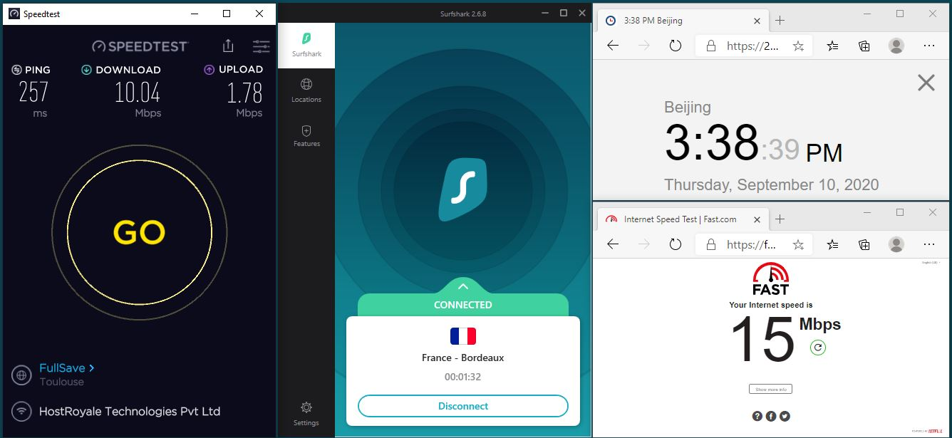 Windows10 SurfsharkVPN App France - Bordeaux 中国VPN 翻墙 科学上网 翻墙速度测试 - 20200910