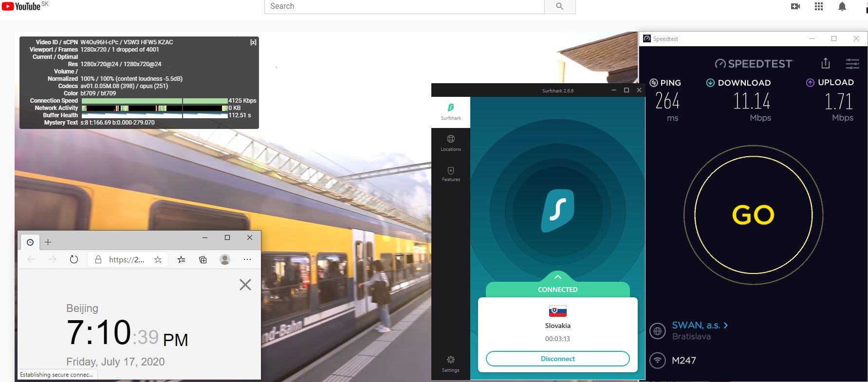 Windows10 SurfsharkVPN Slovakia 中国VPN 翻墙 科学上网 测速-20200717
