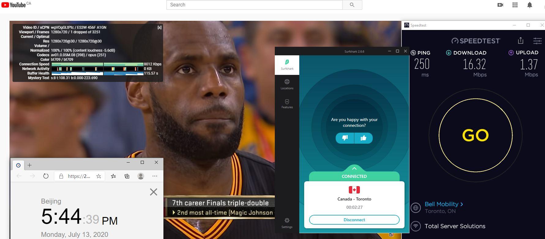 Windows10 SurfsharkVPN Tonroto - Canada 中国VPN 翻墙 科学上网 测速-20200713