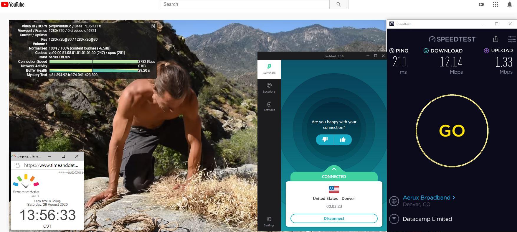 Windows10 SurfsharkVPN USA - Denver 中国VPN 翻墙 科学上网 翻墙速度测试 - 20200829
