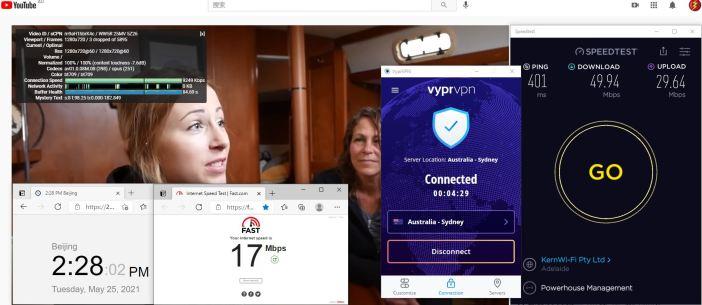 Windows10 VypeVPN WireGuard协议 Australia - Sydney 服务器 中国VPN 翻墙 科学上网 10BEASTS Barry测试 - 20210525
