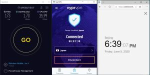Windows10 VyprVPN Wireguard Japan 中国VPN 翻墙 科学上网 测速-20200605