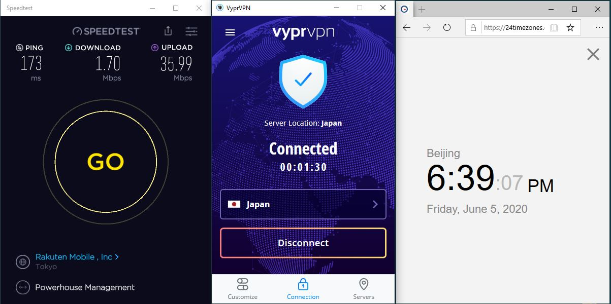 Windows10 VyprVPN Wireguard Japan 中国VPN 翻墙 科学上网 测速-20200605
