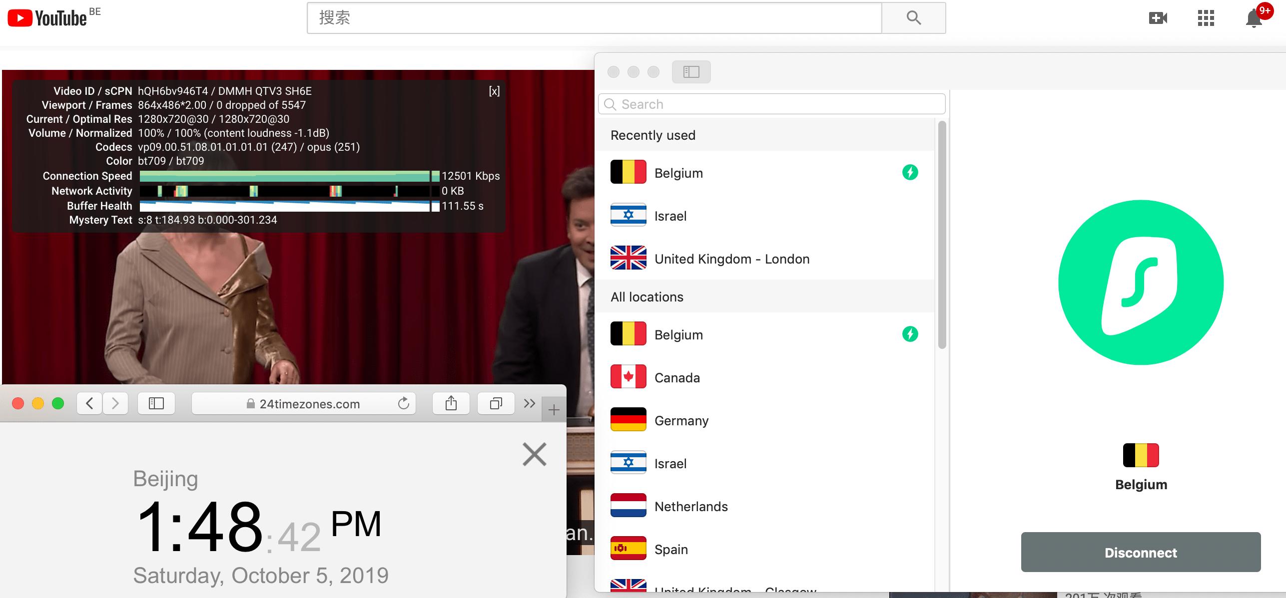 Macbook SurfsharkVPN Belgium YouTube测速 2019-10-05 at 1.48.43 PM