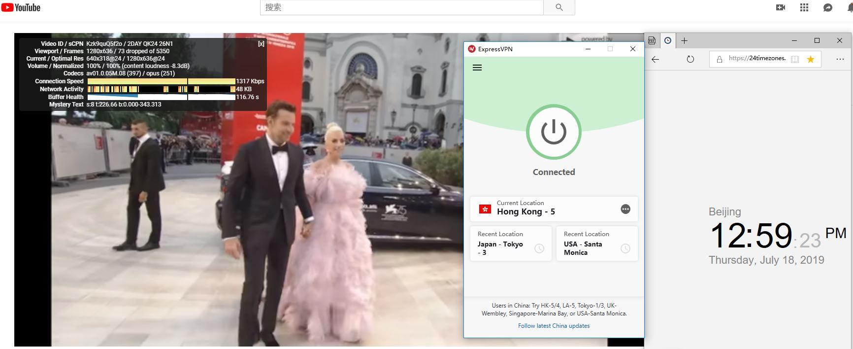 expressvpn Windows 翻墙 科学上午香港-5服务器 YouTube速度测试-20190718
