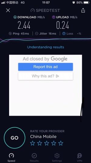 iPhone IOS本地网络4G测速-2019年4月20日
