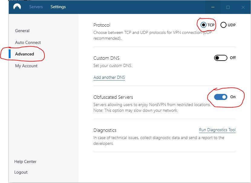 nordVPN windows设置混淆服务器和TCP