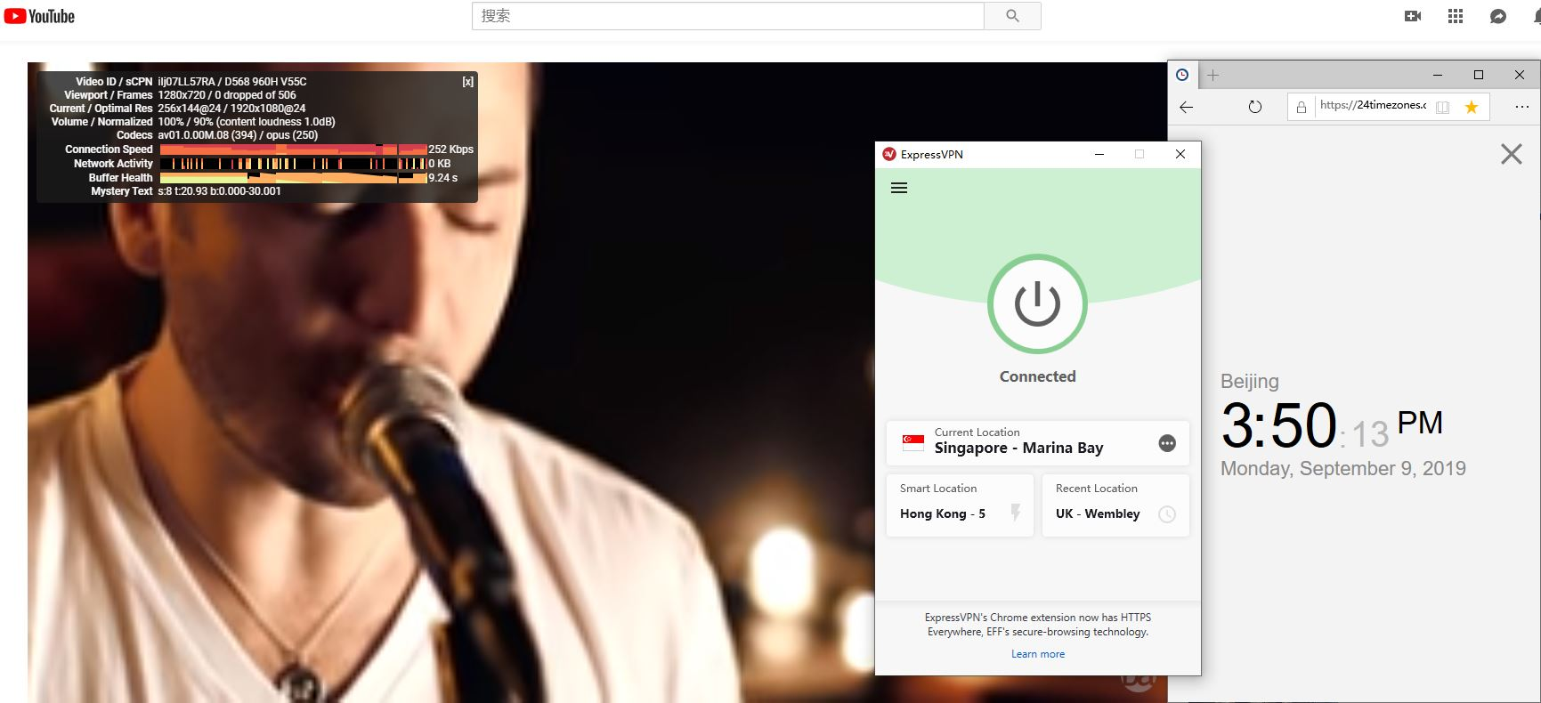 windows ExpressVPN singapore-marina bay 服务器 中国VPN翻墙 科学上网 YouTube速度测试-20190909