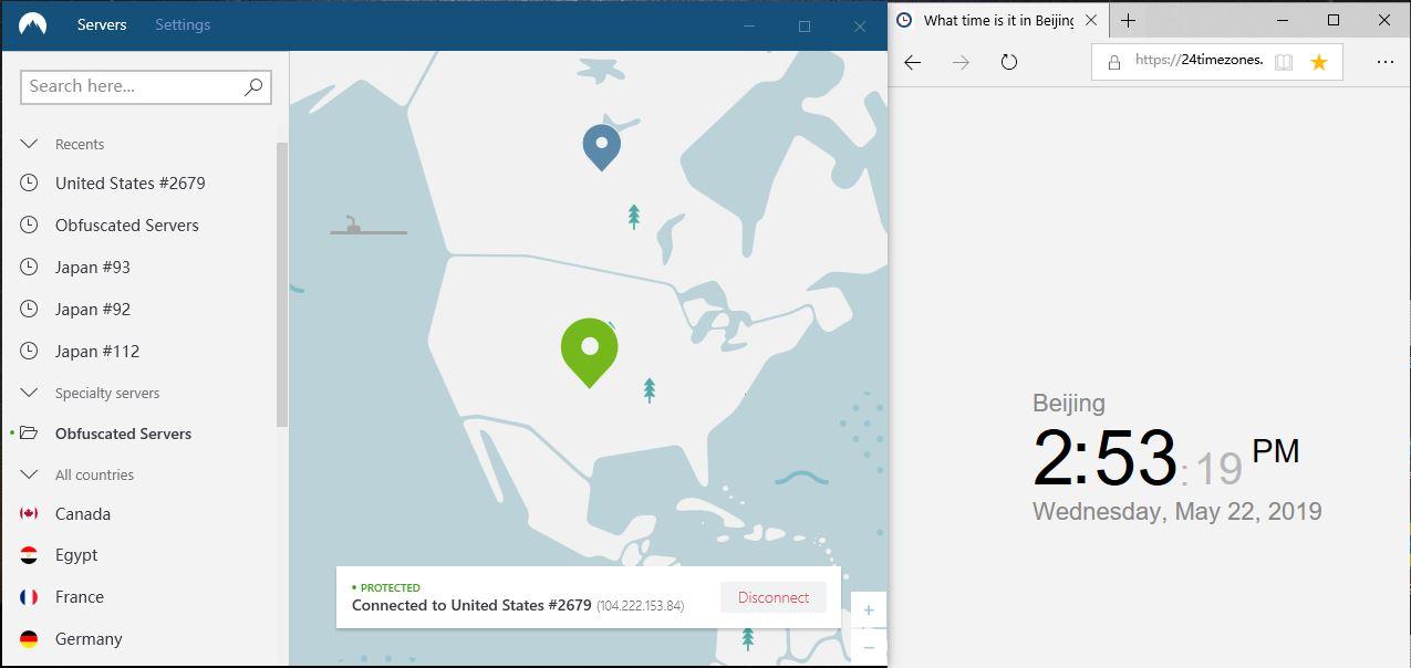 windows-nordvpn-混淆服务器连接-美国2679节点-连接成功-20190522