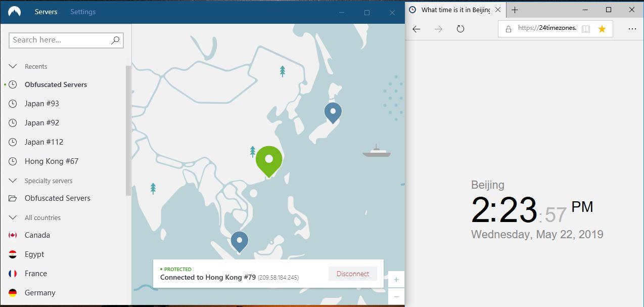 windows-nordvpn-混淆服务器连接-香港79节点-连接成功-20190522