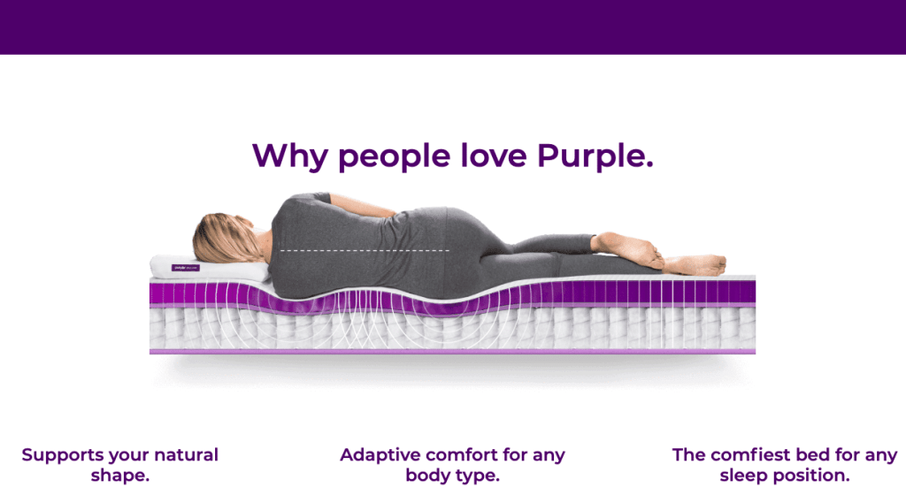 woman laying on purple mattress support