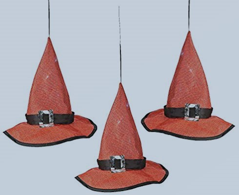 Hanging light-up witch hats