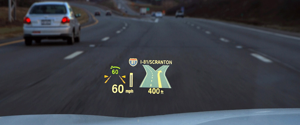 Car HUD displays guide