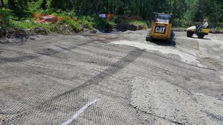 Geotech fabric installed at rear drive