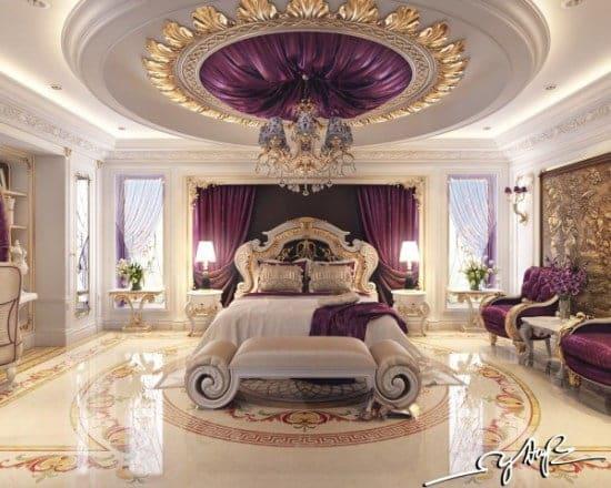 Υπνοδωμάτιο πολυτελείας και χλιδής. Ο ύπνος είναι σίγουρα βασιλικός. Μοβ αποχρώσεις και φύλα χρυσού.