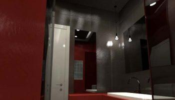 Κρυφός φωτισμός μπάνιου και κρεμαστό νιπτήρα