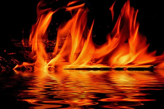 flame fire water reflection