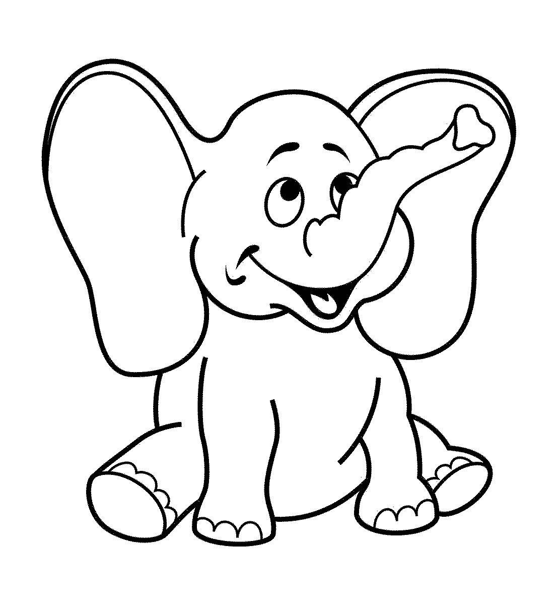 Dibujos De Elefantes Tiernos Para Colorear